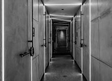chu bathroom corridor bw